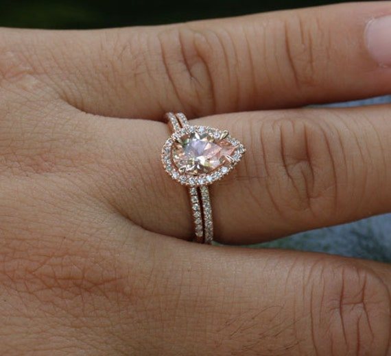 14k Rose Gold 9x6mm Morganite Pear Engagement Ring and Diamond Wedding Band S