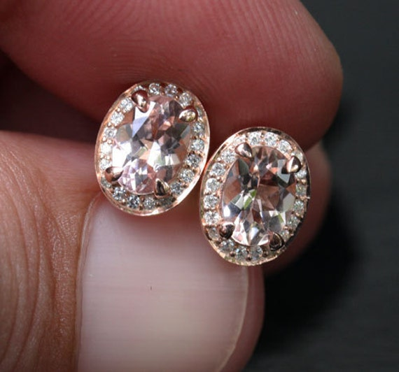 Peach Morganite Earrings 14k Rose Gold Morganite Studs With