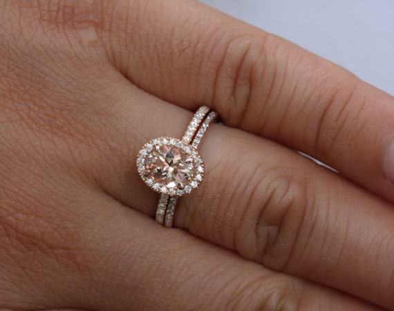 Dollar 200 DISCOUNT Peach Pink Morganite Bridal Ring Set 14k