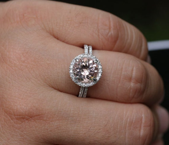 Morganite Engagement Ring Morganite Round 9mm And Diamonds