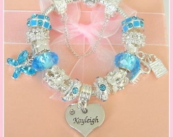 childrens/girls/ladies luxury blue and silver charm bracelet