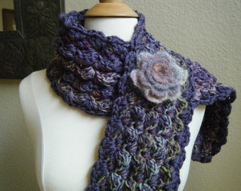 Crocheted chunky scarf with removable Mohair pin.