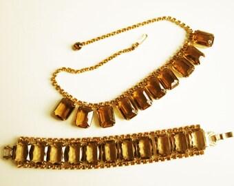 Juliana Delizza & Elster Parure -Bracelet and Necklace - Large Rectangular Topaz/Cognac/Rootbeer Colored Stones - Rhinestones - Goldtone