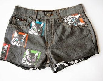 Vintage High Waist Black Shiny Metallic Distressed Denim Cut Off Quilted Cat Shorts