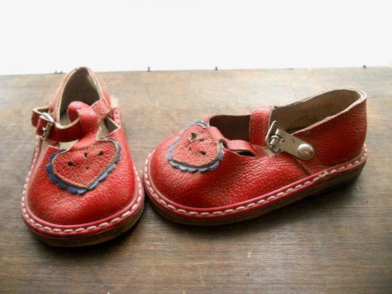 Soviet Vintage Red Baby Sandals 1970s Kids room decor Altered art piece USSR era