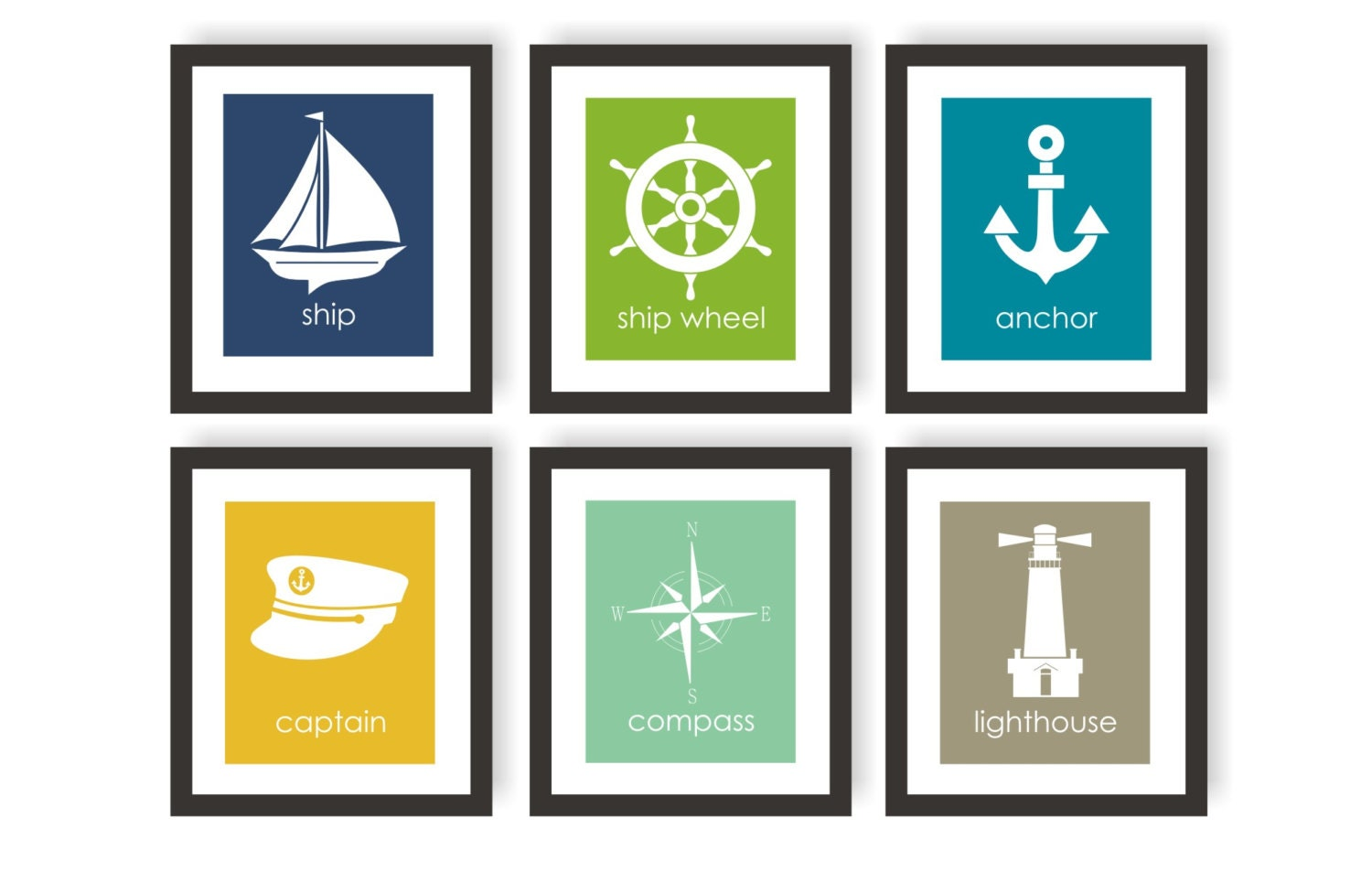 kids nautical art set of 6 choose colors coastal by twowhiteowls