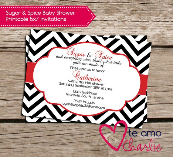 to sugar and spice baby shower invitations red and black baby shower