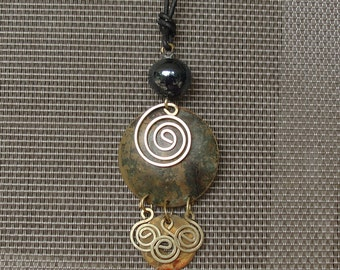 Vintage Spiral of Life Necklace with Spirals, Copper, and Glass Bead on Leather String