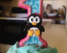 Adorable 3 inch tall Penguin birthday candle- any colors or number