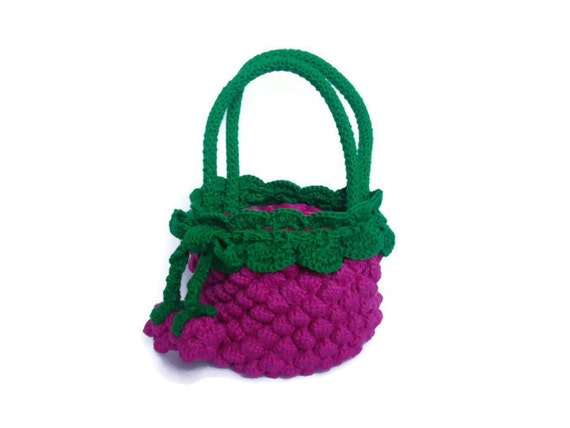 Crochet Bag For Girl : Little Girl Crochet Bag Purse berry by SvitlanaSky on Etsy