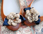 Leather Flower Shoe Clips, Tan, FREE US SHIPPING