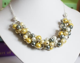 Pearl Cluster Necklace, Yellow and Gray Pearl Cluster Necklace, Yellow and Gray Cluster Necklace, Bridesmaids Gray and Yellow Necklace
