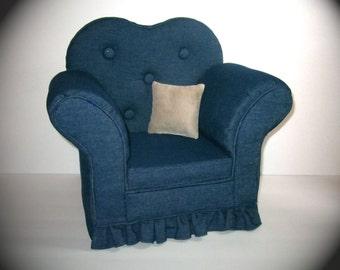 """American Girl 18"""" Doll Denim Chair 18 inch doll furniture"""