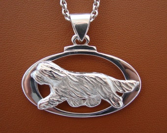 Large Sterling Silver Bearded Collie Moving Study On A Horizontal Oval Frame Pendant