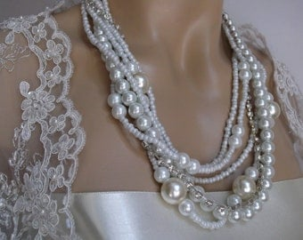 Chunky Pearl Necklace, Ivory Glass Pearls, Rhinestone, Handmade, Wedding Jewelry, Bridal Jewelry, Bridal Pearl Necklace