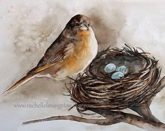 bird painting bird watercolor painting of bird art print bird ATC nest painting nest art print nest robin brown SMALL Artist Trading Card