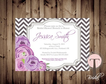 Chevron Flowers Invitation, Bridal Shower Invitation, Wedding Shower, Mason Jars, Chalkboard, invite, Invitation