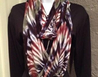 Infinity scarf, Tye dye scarf, rayon/jersey knit infinity scarf, hand dyed infinity scarf, camoflauge scarf