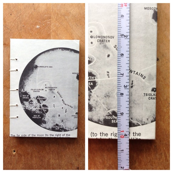 Hand Sewn Hardcover Journal // Vintage Moon Map