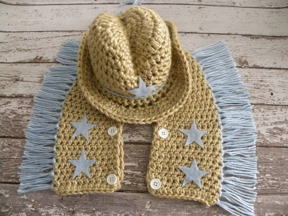 Crochet Baby Cowgirl Outfit Pattern Free : Crochet Cowboy hat and chaps in tan and baby blue. Cowboy