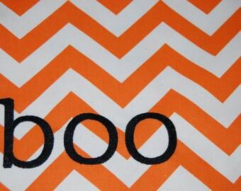 "BOO! Orange Chevron 16"" Square Throw Pillow Cover"