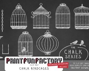 Chalk birdcages clip art digital bird cage images for digital chalkboard paper INSTANT DOWNLOAD