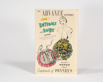 Vintage 50s ADVANCE Hollywood Button and Bows Half Apron Pattern - J.C. Penneys Promo - One Size - Original Envelope