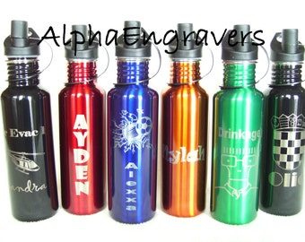 Personalized Engraved Stainless Steel Water Bottle 25oz - 6 Colors FREE Custom Engraving!  Quantities LIMITED