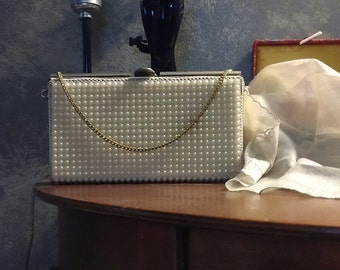 Vintage Pearl covered evening bag 1940's