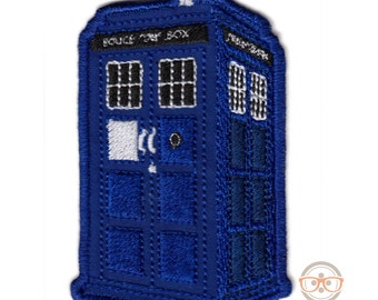 "Doctor Who ""TARDIS"" Police Box Inspired - Embroidered Iron-on Patch"