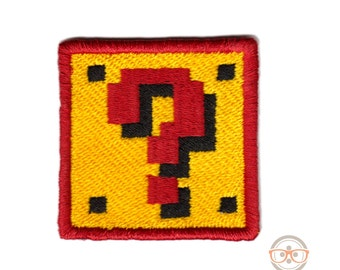 Super Mario Bros. Question Block  Inspired -  Embroidered Iron-on Patch
