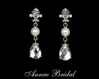"Crystal & pearl teardrop earrings, Bridal, wedding, Swarovski, clear, silver, ""Splendor"" earrings"
