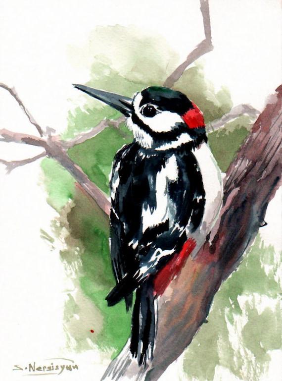 Woodpecker Original Watercolor Painting 12 X 9 In Bird Art