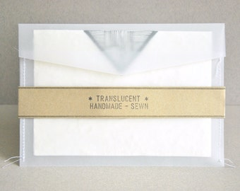 "A7 (5x7) Translucent 'Sewn' Envelopes for 5""x7"" cards - Made of high quality tracing paper - Handmade (set of 20)"