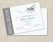 Airplane Baby Shower Invitation, Printable Airplane Invitation, Personalized Baby Shower