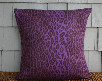 Purple and black leopard print -Throw Pillow Cover