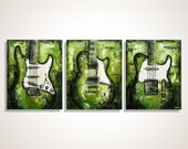 Guitar painting Green Music Art Les Paul & Strat Gift for musician Original palette knife painting on canvas - Sale