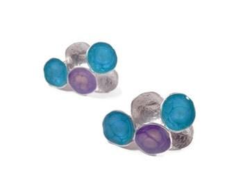 purple post earrings silver blue studs purple studs geometric jewelry enamel earrings multicolor earrings art jewelry