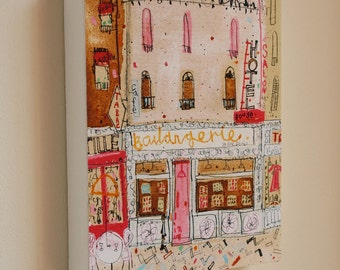 PARIS BOULANGERIE CANVAS, French Bakery Print from Mixed Media Painting by Clare Caulfield, Parisian Wall Art, Signed Box Canvas, Montmartre