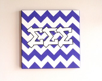 hand painted Sigma Sigma Sigma letters outline with chevron background 12x12 canvas OFFICIAL LICENSED PRODUCT