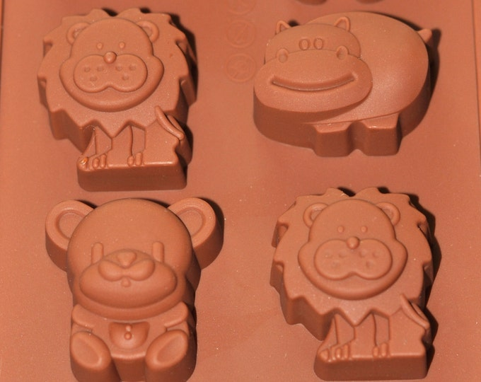 Silicone Chocolate Molds Mini Soap Ice Candy Molds - Type O - Lion Hippo Bear