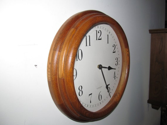 Vintage Sterling Amp Noble Round Wall Clock With Wood By