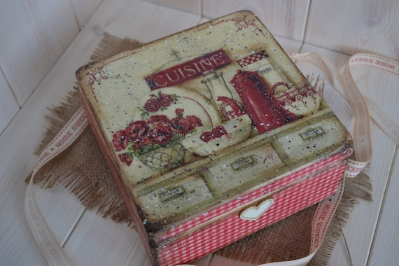 Sale! Home sweet Home- Vintage  Tea Box, wooden Tea caddy Your perfect gift for any occasion