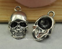 10pcs 3D Antique Silver Skull Charm Pendant 12x20mm Day Of The Dead