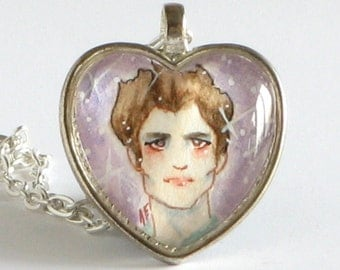 My Boyfriend is Edward Cullen - Twilight - Watercolor Art Pendant Necklace