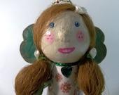 Kiss Me I'm Irish paper mache clover leaf ornamental doll
