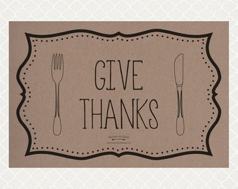 Give Thanks Paper Placemats