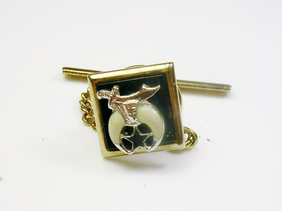 Vintage swank tie tack pin gold silver tone enamel square for What is swank jewelry