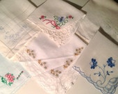 6 Vintage Embroidered Handkerchiefs
