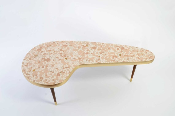 Mosaic tile top Coffee Table kidney shaped 1950